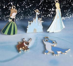 disneys frozen elsa, anna, fire spirit, castle enamel pendants -jewellery making