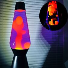 "Lava the Original Motion Liquid Night Light Silver Base Orange Color 14.5"" NEW"
