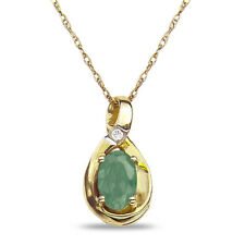 Natural Green Amethyst Birthstone Diamond Accent Necklace Pendant 10k SOLID