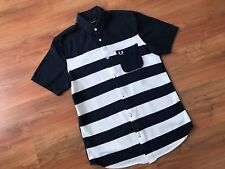 Mens STRIPED Blue FRED PERRY POLO SHIRT (S) *L@@K*