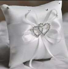 White Wedding Ring Pillow Ring Bearer Cushion Diamanté's