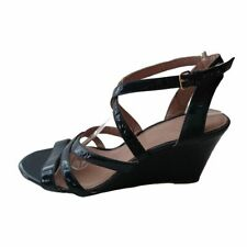 J Crew Navy Blue Patent Leather Wedge Sandals Size 9