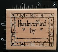 HANDCRAFTED BY FRAME LABEL SCRIPT Wood Mounted Rubber Stamp