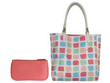 Multicolored Peach Blue Blue Women Bag Large & Pouch