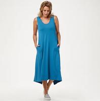 LOGO by Lori Goldstein Rayon 230 Dress w/Handkerchief Hi-Low Hem -Blue Waves/2X