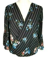 by& by Chiffon Floral V-Cross Neck 3/4 Bell Sleeve Pullover Blouse Women Size L