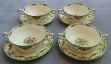 Set of FOUR Wedgwood Grosvenor Cream Soup Bowls with Liner Plates