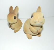 "2 Joseph Originals Flocked Rabbits Bunnies 3"" & 3 1/2"" Japan Foil Label"