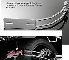 Supporto porta Targa Universale filo ruota cromato per harley custom cafe racer