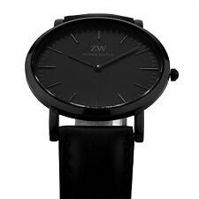 Zeiger Mens Business Ultrathin Quartz Analog Wrist Watch Black Leather Military