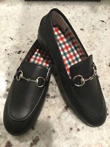Gucci Childrens Jordaan Leather Horsebit Loafer Black 484908 Size 33 NERO