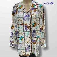 100% Silk Women's Plus Size Graphic Artsy Blouse 1X