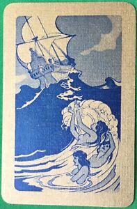 Playing Cards Single Card Old Vintage MERMAID GIRLS + SHIP Stormy SEA WAVE Art B