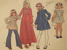 Lovely VTG 75 McCALLS 4744 Girls Dress in 2 lengths or Top PATTERN 6/25B UC