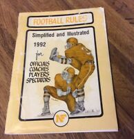 Official 1992  high school football rules book,Simplified AND Illustrated,