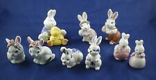Handpainted Bunny Salt & Pepper Shakers Delft Mann OFF Russ Easter Lot of 5