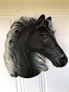 Large Chalkware Horse Head 3D Wall Plaque Unique Heavy Detailed Vintage Piece