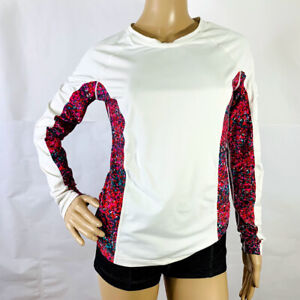 Athleta Ladies S Small Shirt Activewear Long Sleeve Pocketed Arm White Floral