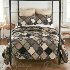 Lexington Tan Grey Black Rag Patchwork Quilted Country Queen 3-Piece Bedding Set