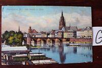 Postkarte Ansichtskarte Hessen Lithografie  Frankfurt a. Main Alte Brücke Dom