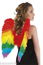 Large Rainbow Feather Angel Wings Gay Pride Hen Night Party Fancy Dress Costume
