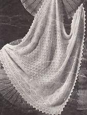 """Vintage Shetland Lacy Baby chal ~ 2 Capas ~ ~ Tejer patrón 47 """"x 47"""""""