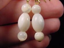 (EE-473-C) Mother of pearl gemstone three bead dangle hook earrings gold