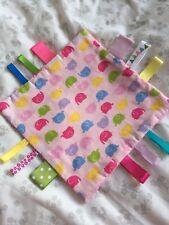 BN Baby handmade Taggie Blanket Minky Ribbons Gift Pink Elephant
