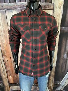 "DIXXON LS Red & Black Plaid Flannel Button Up Shirt Medium NWOT ""Snap On"""