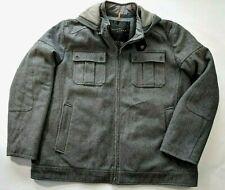Sean John Mens G3 GIII 3XL Winter Wool Hooded Coat Grey Hood