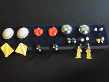 Vintage Retro Mixed Lot of 10 Pairs of Earrings Gold Tone, Silver Tone, Costume