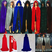 Xmas Cosplay Velvet Cloak Witch Adult Hooded Cape Halloween Party Costume decor