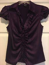 XOXO Purple Satin Button Down Dress Shirt SzM EUC