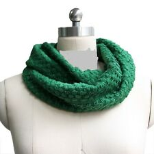 WOMEN FASHION WARM KNIT NECK CIRCLE WOOL COWL SNOOD LONG SCARF SHAWL WRAP GREEN