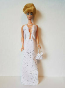 Vintage Body BARBIE DOLL CLOTHES Hand-Beaded Gown & Purse HM Fashion NO DOLL d4e
