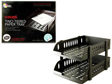 A4 Paper Tray 2 Tier Plastic Files Drawer Office Desk Top Table Organiser
