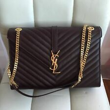 YSL Yves Saint Laurent Large Monogram Grained Leather Shoulder Flap Bag