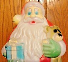 "18"" SANTA CLAUS TEDDY BEAR GIFT CHRISTMAS BLOW MOLD LIGHT UP YARD DECOR ST. NICK"