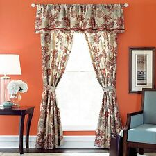 NEW JCP Cindy Crawford Lined FLORAL ROUGE Tailored Barn Red Window VALANCE