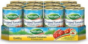 Valfrutta Chopped Tomatoes in Tomato Juice Italian - Pack of 12 x 400g Tin Cans