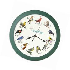 """Audubon Singing Bird Clock - 13"""" Green with Light Sensor"""