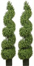 Two 56 inch Outdoor Artificial Boxwood Spiral Topiary Trees UV Rated 4 5 6 Pool
