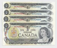4 x Sequential 1973 $1 Bank of Canada Notes EF to UNC