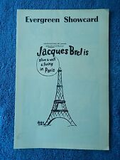 Jacques Brel Is Alive And Well And... - Village Gate Playbill - December 1969