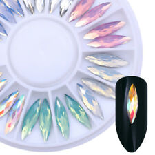 Opal AB Color Nail Rhinestones 3D Nail Art Decoration in Wheel Marquise Manicure