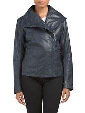 NWT BOD & CHRISTENSEN High Collar Leather Jacket Size M Navy