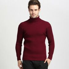 Mens Cashmere Blend Knitted Sweater Turtleneck Slim Fit Pullover Casual Tops HOT
