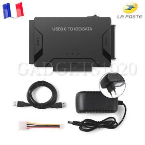 """Kit Adaptateur Convertisseur USB 3.0 Vers IDE / SATA Pour Disque Dur 2,5 """"/ 3,5"""""""