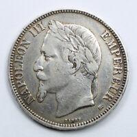 Pièce Argent 5 Francs Napoléon III tête laurée Année 1869 BB Atelier Strasbourg