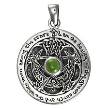 Moldavite Sterling Silver Moon Pentacle Pendant | Dryad Design |  Wiccan Pagan